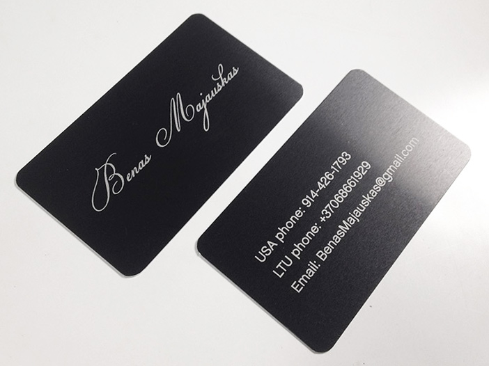 Laser cut business cards proper recognition 2 sided laser engraved on black metal reheart Choice Image